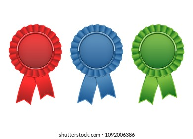 Set of blue, green, red award rosettes