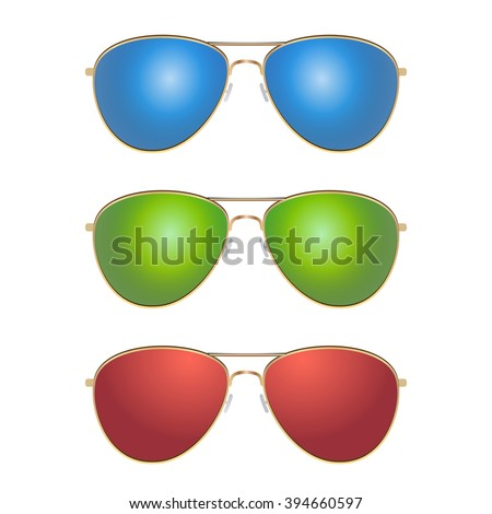 9a1d34ddb00c Set - blue, green and red color aviator sunglasses with gold frame. Sun  glasses with transparent, gradient, mirrored lenses. realistic design  vector art ...