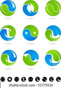 Set of  blue and green Yin Yang symbols