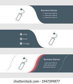 Set of blue grey banner, horizontal business banner templates. Banners with template for text and dynamite symbol. Classic and modern style. Vector illustration on grey background