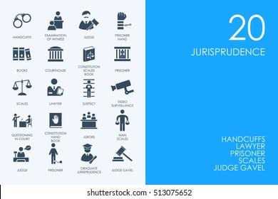 Set of BLUE HAMSTER Library jurisprudence icons
