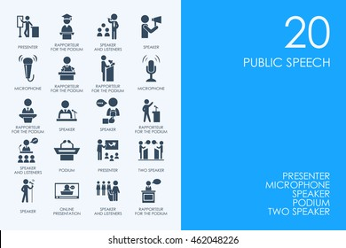 Set of BLUE HAMSTER Library public speech icons