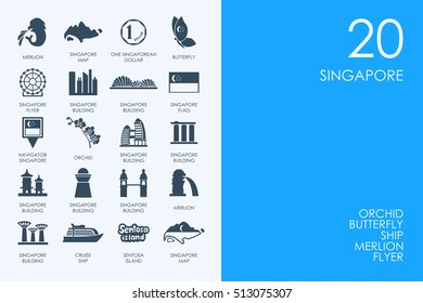 Set of BLUE HAMSTER Library Singapore icons