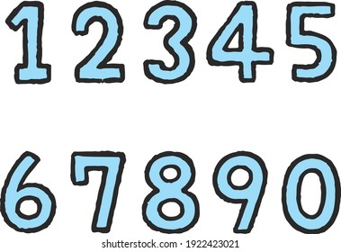 Set of blue hand-painted numbers