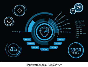 Set of blue infographics as head-up display