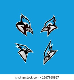 set of blue jay bird color head mascot logo icon designs vector illustration