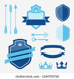 Set of blue label ornament vectors