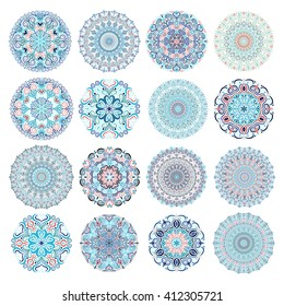 Set of blue mandalas. Decorative round ornaments. Anti-stress therapy patterns. Weave design elements. Yoga logos, backgrounds for meditation poster. Unusual flower shape. Oriental snowflakes vector.