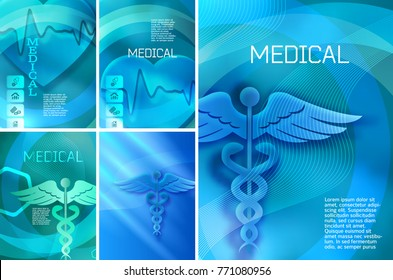 Set Blue medical background abstract - concept health care or medicine technology. Vector Illustration EPS 10, Graphic Design elements vertical banner, flyer dental service, presentation brochure