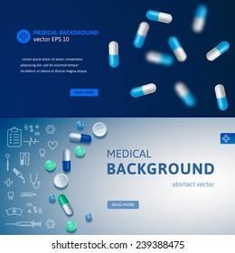 Set of blue medical banners with pills and medicine symbols. Realistic vector backgrounds for websites and advertisement.