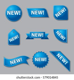 set of blue new product promotion labels and banners