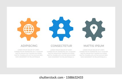 Set of blue and orange, dark gray elements for infographic presentation slides with charts, graphs, steps.