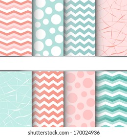 Set of blue pastel and pink jumbo polka dots, gingham and chevron seamless patterns. Vector background