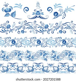 Set of blue patterned Seamless borders and elements for the design in the style of ethnic porcelain painting. Floral Brushes with leaves and flowers isolated on white. Vector illustration