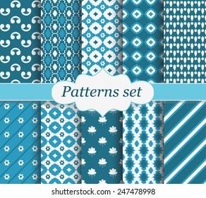 Set of blue patterns