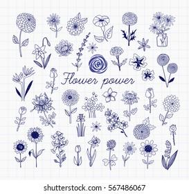 Set of blue pen doodle sketch flowers on lined paper