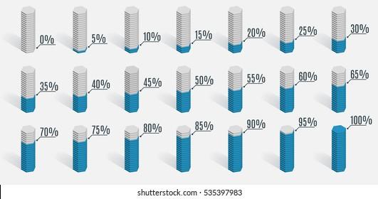 Set of blue percentage charts for infographics, 0 5 10 15 20 25 30 35 40 45 50 55 60 65 70 75 80 85 90 95 100 percent. Vector illustration.