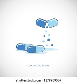 Set blue pills and capsules tablets painkillers, antibiotics, vitamins medical icon vector illustration