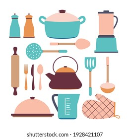 set of blue pink cookware isolated on white background, vector illustration, kitchen utensils
