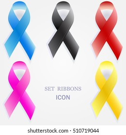 Set of Blue, Pink, Red, Yellow and Black ribbons. Breast Cancer, Prostate Cancer, Aids and Childhood Cancer Awareness Sign. Vector Illustration. Medical And Health Concept