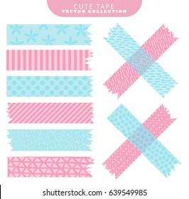 Set of blue and pink washi tape with variant patterns. Vector illustration