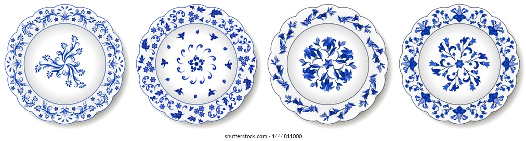 Set of blue porcelain plates. Decorative ceramic plates, traditional floral pattern, Chinese motives with exotic flowers, blue on white, Russian Gzhel style. Isolated objects, vector illustration