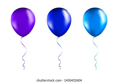 Set of Blue and Purple balloons on transparent white background. Party Balloons event design decoration. Mockup for balloon print. Vector.