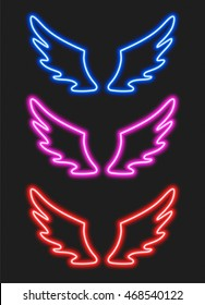 Set with blue, purple and red neon wings for your design
