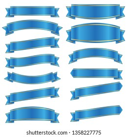 set of blue ribbon banner icon,blue Web Ribbons Set With Gradient Mesh on white background