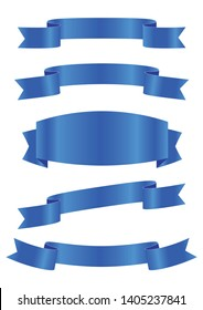 set of blue ribbon banner icon,blue Web Ribbons Set With Gradient Mesh on white background,Vector illustration. Place for your text. Ribbons for business and design. Design elements