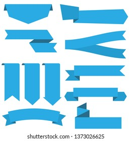 set of blue ribbon banner icon,ribbon vector banner, on white background