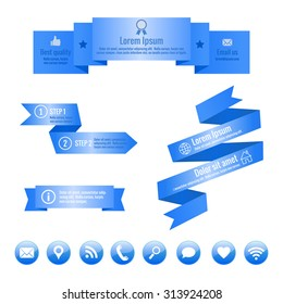 Set of blue ribbon banners and social media icons. Infographic elements. Vector illustration.