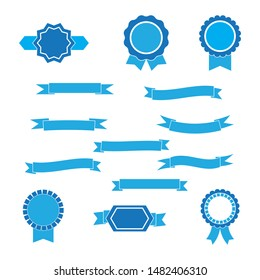 set of blue ribbons and labels.vector illustration