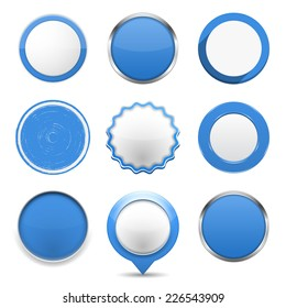 Set of blue round buttons on white background, vector eps10 illustration