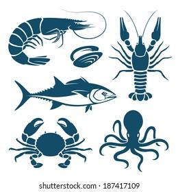 Set of blue seafood symbols