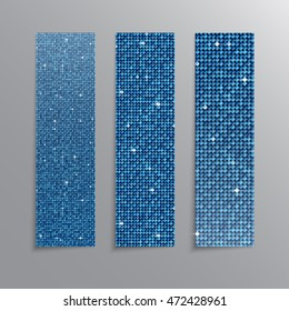 Set of blue sequins banners template for business design, infographics. Vector illustration eps10. Mosaic, sequins, glitter, sparkle, stars.