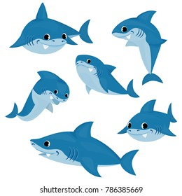 Set of blue shark cartoon.