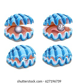 Set of blue shells with gray pearl with face. Fancy animals of the seas and oceans isolated on white background. Stage of unfolding shells. Vector cartoon close-up illustration.