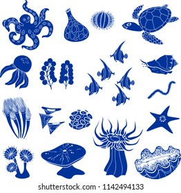 Set of blue silhouettes of different marine animals