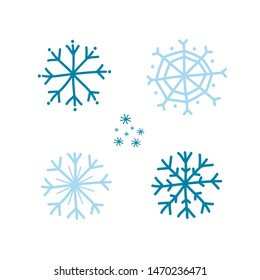 A set of blue snowflakes. Drawing in a doodle. Vector Illustration by hand.