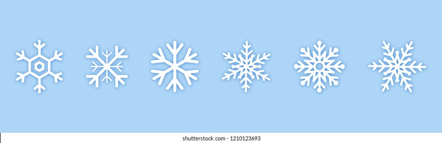 Set of blue Snowflakes icons. Black snowflake. Snowflakes template. Snowflake winter. Snowflakes icons. Snowflake vector icon. Eps10