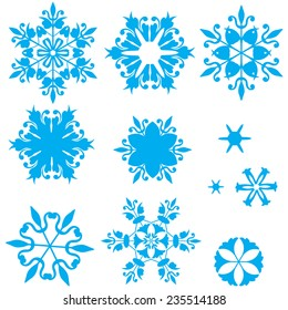 Set of blue snowflakes in Russian Gzhel style