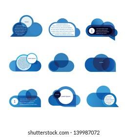 Set of blue speech bubbles