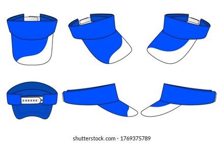 Set Blue Sun Visor Cap Design With White Curve Style On Brim Cap