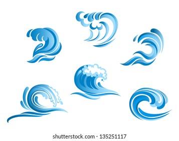 Set of blue surf ocean waves isolated on white background, also a logo idea. Jpeg version also available in gallery