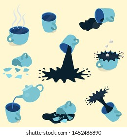 Set of blue tea and coffee cups - full, empty, broken. Vector illustration. On yellow background.