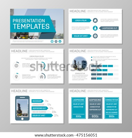 set blue template multipurpose presentation slides stock vector