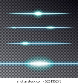 Set of blue transparent lines effect with sparkle isolated on dark background. Magic light line template for your design. Sun rays or bokeh vector illustration.