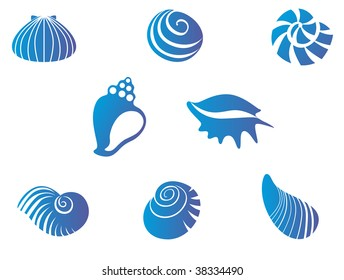 Set of blue underwater sea and ocean seashells - abstract emblem or logo template isolated on white