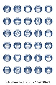 A set of blue vector buttons on a white background